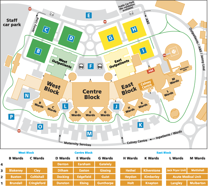 Norwich University Map Norfolk and Norwich University Hospitals NHS Foundation Trust