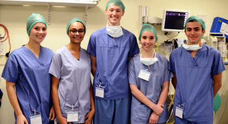 Bethany, Jessica, Alex, Francesca and Alex in operating theatre