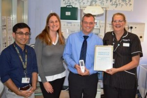 Left to right: Dr Roy, Claire Nicholl, Simon Nicholl and NICU Matron Jane Bennett
