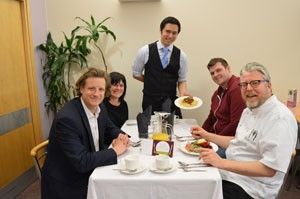 Left to right: Jon Batcherlor Serco Catering Lead, Debbie Jones Serco diet support manager, Jason Kong Serco catering general manager, patient Richard Lodge and Norfolk Chef Richard Hughes