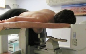 Breast biopsy using X-ray control. This is usually done with the patient laying down.