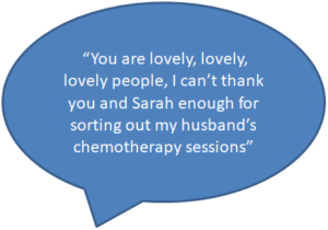 You are lovely lovely lovely people. I can't thank you and Sarah enough for sorting out my husband's chemotherapy sessions.